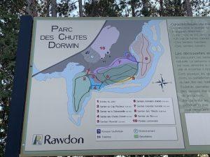 Carte des sentiers du parc des chutes Dorwin a Rawdon LM Le Québec