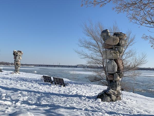 Sculpture du parc Rene Levesque oeuvre dart de David Moore LM Le Québec
