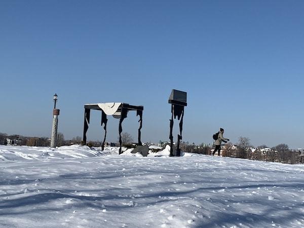 Sculpture du parc Rene Levesque oeuvre dart de Dominique Valade LM Le Québec